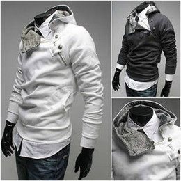 Wholesale White Rabbit fur collar Men s Hoodies amp Sweatshirts Jacket Coat Size M L XL XXL