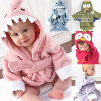 Wholesale New Animal Baby hooded bathrobe owl baby robes towels warm blanket bathing towels color size