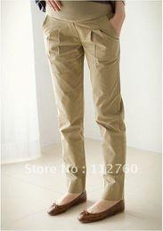 Carrera casual, pantalones de maternidad de 2012 la moda de la mujer embarazada use pantalones casuales pantalones Negros&color Caqui S
