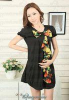 Wholesale Newest Maternity dress lovely design boat neck black chiffon