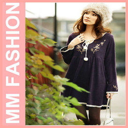 Wholesale MM FASHION Retil And ree Shipping Plus Size Fzz Ball Dress Autumn Ctton V Neck Mat