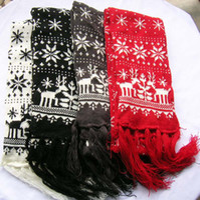 Wholesale snowflake wapiti knit Christmas winter long scarf ski knit fringe scarves