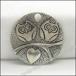 Charms Antique Plated Silver Zinc Alloy owl Round Pendant Fit Bracelet Necklace DIY Jewelry 80pcs