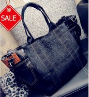 Wholesale New Womens Fashion bag PU Leather bags handbags Women Totes black