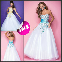 Wholesale 2013 New Shiny Crystals Beaded Motifs Sweetheart Neck White Tulle A Line Prom Pageant Formal Dresses