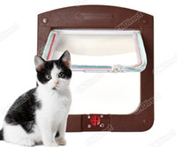 Wholesale Locking Pet Cat Kitty Small Dog Doggy Flap Safe Door Tunnel Colors Way
