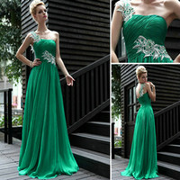 Wholesale Elegant Green One Shoulder Lace Chiffon Long Pleat Split Modest Long Prom Dresses Evening Dres