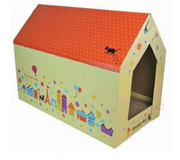 Wholesale Corrugated paper cat game house cat catch plate Pet Cat Scratch House Bed