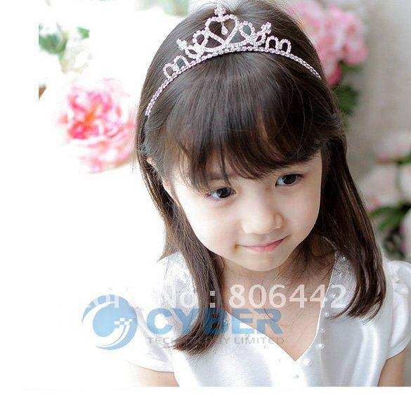 Free Shipping New Cute Children Kids Girls Rhinestone Princess Hair Sticks Crown Headband Tiara