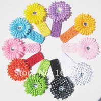 Flower Headbands Cotton Free Shipping 15pcs Crochet Headbands hat+15pcs Gerbera Daisy Flowers Baby Hairbows,Headbows 10 colo