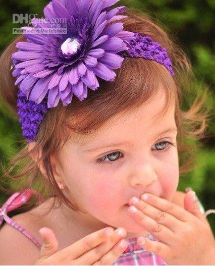 crochet headband + Gerbera Daisy flower baby hair bows with aligator grip children headbands kid's a