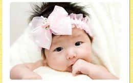 Descuento bandas para la cabeza de encaje blanco para bebés bebé niño de chicas de color rosa de encaje blanco diademas diadema grande de gasa arco boutique de accesorios de protección para la cabeza