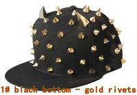 Wholesale Korean punk rivets hip hop cap Ox horn flat brimmed hat Adjustable Bboy caps Snapback hats