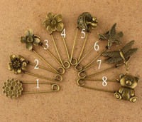Wholesale 40pcs Assorted design Antique Bronze Alloy Pin DIY Jewelry Accessory Finding