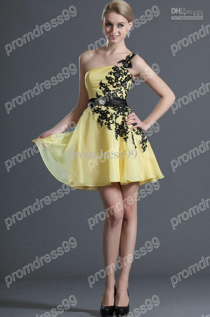 Yellow And Black Prom Dress - Ocodea.com