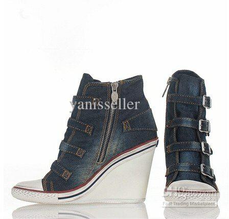 Hot Products Ash Shoes Thelma Bis Wedge Sneaker Blue Denim On Hot ...