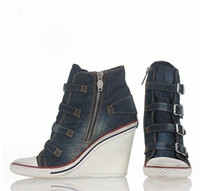 ash thelma sneaker - Hot products ASH SHOES THELMA BIS WEDGE SNEAKER BLUE DENIM ON HOT SALE very cheap