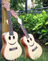 Wholesale Hanknn Ukulele Smile Solid Spruce Top with Ablone Binding Christmas Ukulele