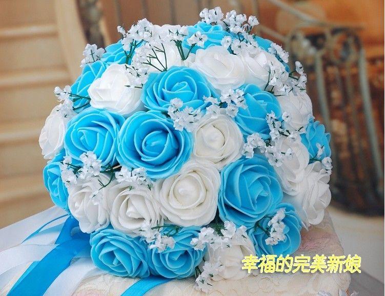 Beautiful wedding bouquet artificial 30 rose flowers blue bridal bouquets - Faux bouquet de fleur ...