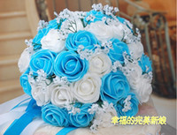 Wholesale Beautiful Wedding Bouquet Artificial Rose Flowers Blue Bridal Bouquets Colors gt gt t457hk