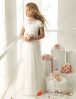 Wholesale 2015 Hot Sale Lovely Girl s Pageant Party Gowns A line Bateau Short Sleeves Flower Girl Dresses