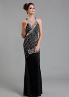 2013 Glamorous Mermaid Evening Dresses V- Neck Charmeuse Bead...