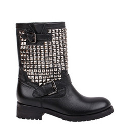 Wholesale Ash Shine Silver Studded Biker Boot Fashion Genuine Leather Rivets Punk Martin Mid calf Boots