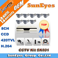 Wholesale 5pcs SunEyes CCTV Kit ch with TVL CCD IR Security Camera and H Network DVR High Quality