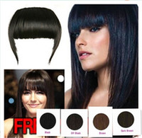 Human Hair Black  100% Human Hair Extension Clips in Bang Hair Side Fringes 4 colors remark you want