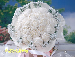 Wholesale Beautiful WHITE Wedding Bouquet Artificial Rose Flowers Bridal Bouquets Colors MMGHY