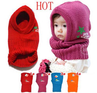 Wholesale New Korean Hat and scarf connection Children of conjoined cap five star Knitted hat