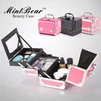 Wholesale cosmetic tools jewelry box multi layer make up case with Mirror Drawer PVC high quality