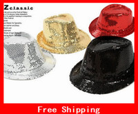 Wholesale Popular Party Sequin Flashing Hat Xmas Gift Light Up Fedora Dance Hats Use For Concerts Bars Discos