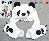 Wholesale MT37 NEW cotton acrylic cashmere fashion Hat scarf Connection gloves Cartoon panda shape Childre