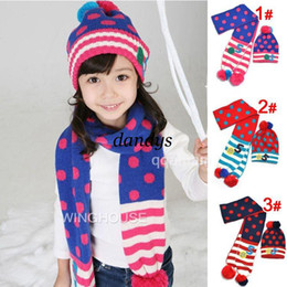 Wholesale Children hat scarf sets hat scarf Polka Dot grid Double ball standard children s hat and scarf