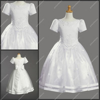 Wholesale Real Sample White First Communion Dresses Jewel Neckline Short Sleeves Appliqued Christening Gowns