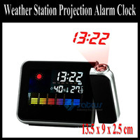 Digital   LCD weather station Projection alarm clock +Temperature humidity+Calender +Alarm + Snooze function