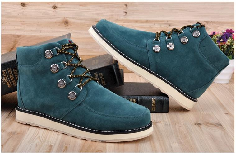 Mens Boots Mens Ankle High Boots Mens Casual Shoes Dark Green Warm ...