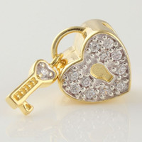 Wholesale Love lock K Gold Plated Beads Charms Sexy European Fashion Bracelet Necklace jewelery DIY GP042