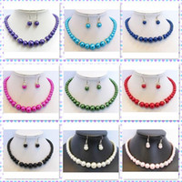 Wholesale Mixes Color Mother Of Pearl Necklace Earrings Jewelry Set MM Crystal Rondelles Fashion Jewelry