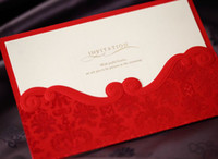 Wholesale 2013 Hot Sale Elegent Custome Made Folded Red Flowers Bow Wedding Favors Wedding Invitation Cards