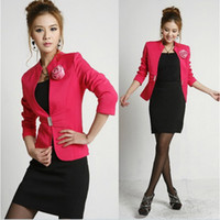 Wholesale One button Fromal casual suits women business coat half body dress Red
