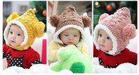 unisex Winter Crochet Hats Baby winter hats Cute bucket cap Children Crochet Hats Earmuffs knitting hat Baby warm Beanie cap