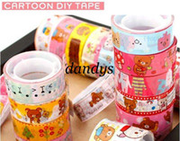 Wholesale Freeshipping New Cute Rilakkuma Colorful Adhesive Tape Stationery DIY Sticker label