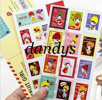 People   Freeshipping! New Fruits Girl Postage Sticker+Postcard Set Multifunction stamp stickers DIY Paper