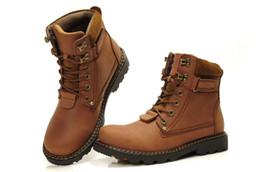 Air en cuir libre à vendre-Hommes bottes en cuir Martin tête de botte couche de vache botte de randonnée en plein air bonne brun Livraison gratuite