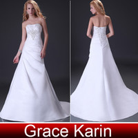 Elegant A- line Wedding Gown Strapless Cathedral Court Train ...