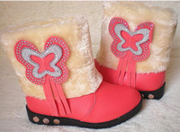 Winter Snow Boots Ankle Free shipping new bow Plush warm children ugg boots girls skin boots boots boots Rhinestones