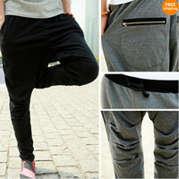 Wholesale Men s Casual Rop sports pants Zipper Harem trousers training baggy Black Grey A669