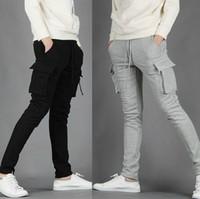 Wholesale 2014 NWT Mens Pants Casual Skinny Jogging Training Long Pockets Light Grey Black M XXL X71